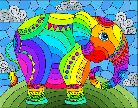Illustration in stained glass style with abstract cute rainbow elephant on a blue sky background with clouds