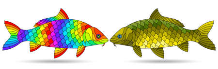A stained glass illustration with abstract carp fishes isolated on a white background