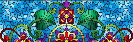 Illustration in stained glass style with abstract flowers, leaves and curls on a blue background, rectangular horizontal image