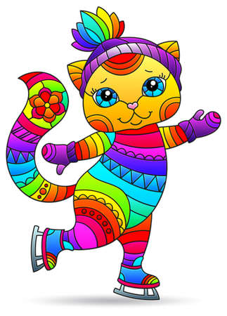 Stained glass-style illustration with a cute cartoon kitten on skates, the animal isolated on a white background