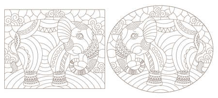 Set of outline illustrations in the style of stained glass with abstract elephants, dark outlines on white background Ilustração