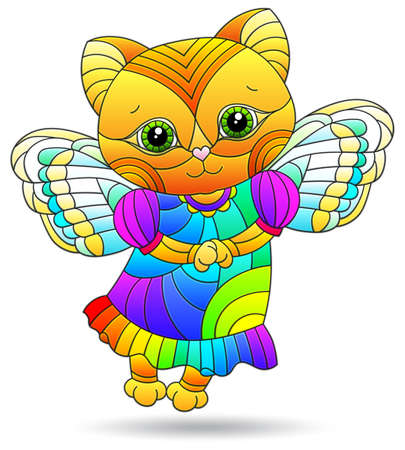 Illustration in stained glass style with a fairy cat, an animal isolated on a white background