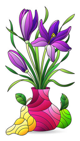 Illustration in the style of a stained glass window with a floral still life, a vase of flowers and fruit isolated on a white background