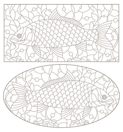 A set of contour illustrations in the stained glass style with carp fishes on a background of algae, dark contours on a white background