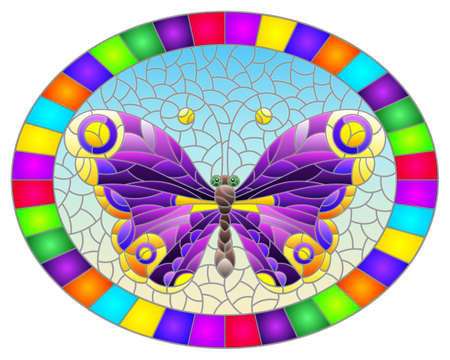 Illustration in stained glass style with a bright purple butterfly on a blue background in a bright frame, oval image