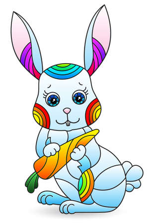 Stained glass illustration with a cute cartoon rabbit, the animal isolated on a white background