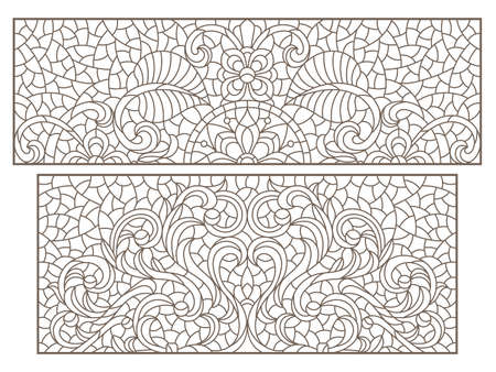 Set contour illustrations of stained glass with abstract swirls and flowers, horizontal orientation, rectangular images
