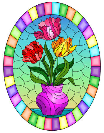 Illustration in a stained glass style with a floral still life, a vase with bright tulips on a sky background, oval image in bright frame