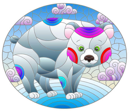 Illustration in the style of a stained glass window with a cute cartoon polar bear on the background of snow and a cloudy sky, oval image