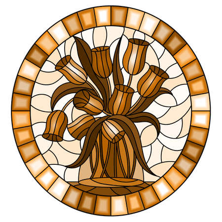 Illustration in stained glass style with still life, bouquet of Tulips in a glass jar on a light background, oval image in frame, monochrome, tone brown