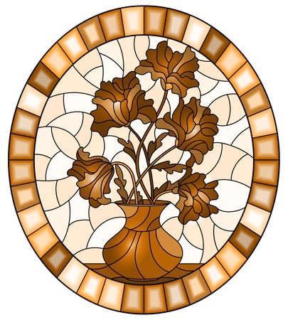 Illustration in stained glass style with bouquets of flowers in a vase on table on a light background, oval image in frame, monochrome, tone brown