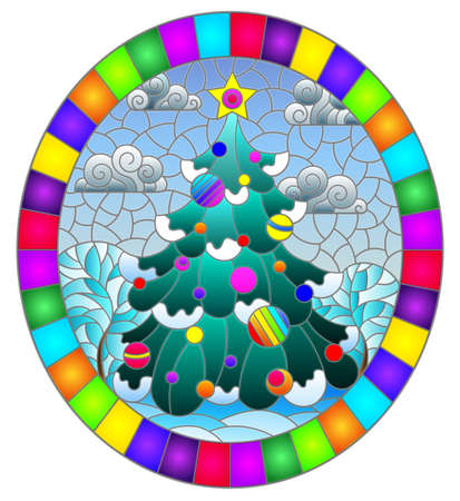 Illustration in the style of a stained glass window on the theme of winter holidays, with decorated christmas tree against the background of a winter night landscape