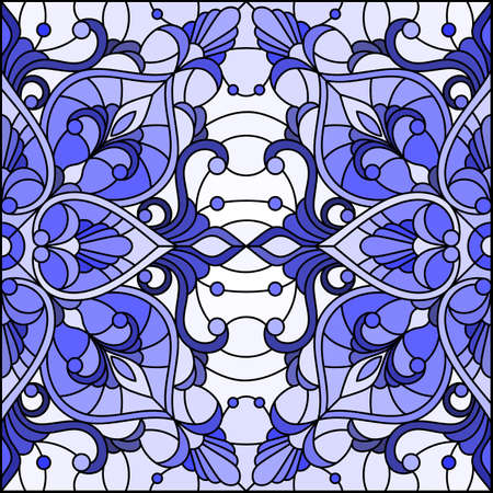 Illustration in stained glass style with abstract flowers, swirls and leaves on a light background, monochrome, tone blue