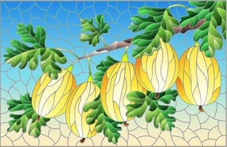 Illustration in the style of a stained glass window with a branch of ripe yellow gooseberries, berries and leaves on a blue background