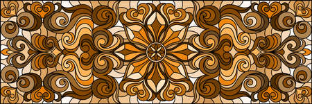 Illustration in stained glass style with abstract flowers, swirls and leaves on a light background, horizontal orientation, sepia