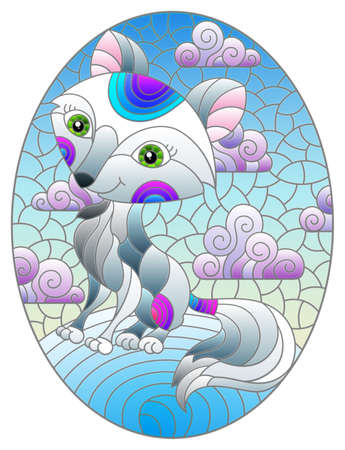 Illustration in the style of a stained glass window with a cute cartoon arctic fox on the background of snow and a cloudy sky, oval image