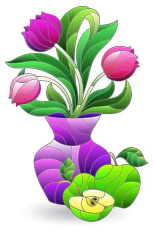 Illustration in the style of a stained glass window with a floral still life, a bouquet in a vase and fruit isolated on a white background