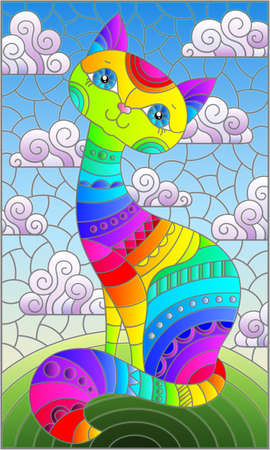 Stained glass illustration with a rainbow cartoon cat against a blue sky with clouds, rectangular image