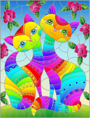 Stained glass illustration with a pair of rainbow cartoon cats against a blue sky and rose flowers
