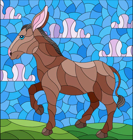 Illustration in the style of a stained glass window with a funny donkey on a background of meadows and a blue cloudy sky
