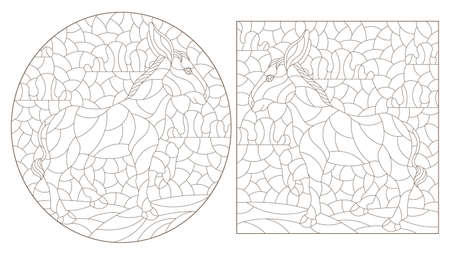 Set of contour illustrations in the style of stained glass with cute donkeys, dark outlines on a white background