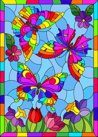 An illustration in the style of a stained glass window with beautiful bright butterflies on a background of flowers and a blue sky, in a bright frame