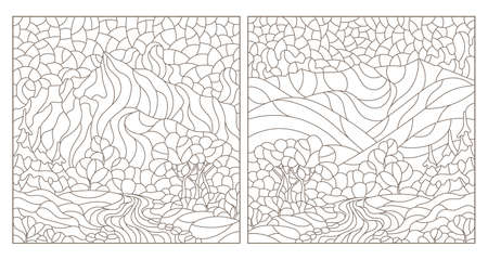 Set of contour illustrations in the style of stained glass with mountain landscapes, dark outlines on a white background