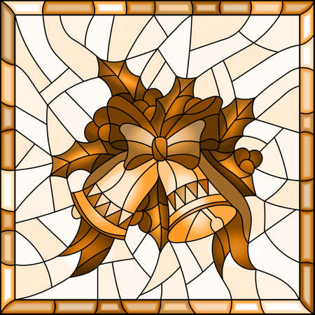 Illustration in stained glass style for New year and Christmas, bells, Holly branches and ribbons on a light background in a bright frame, tone brown