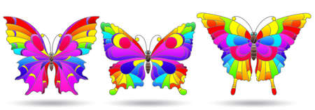 A set of illustrations in a stained glass style with bright rainbow butterflies, insects isolated on a white background