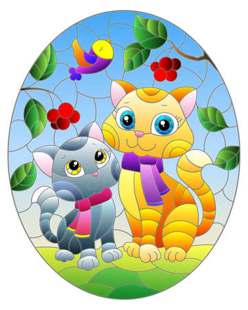 Stained glass illustration with bright cartoon cats against a blue sky and berries, ioval image