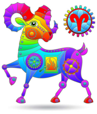 Illustration in the style of a stained glass window with a zodiac sign aries, figure isolated on a white background Illustration