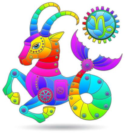Illustration in the style of a stained glass window with a zodiac signs Capricorn, figure isolated on a white background Illustration