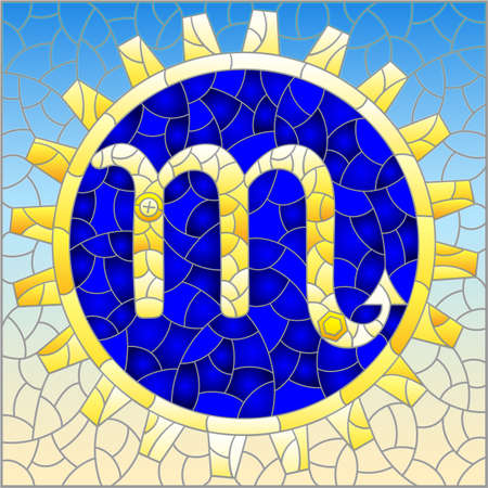 Illustration in the style of a stained glass window with an illustration of the steam punk sign of the horoscope scorpio