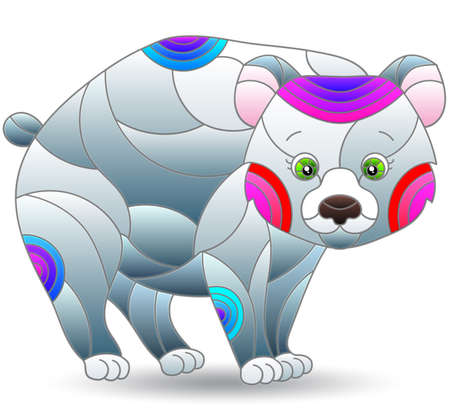 Stained glass style illustration of a cute cartoon polar bear, the animal isolated on a white background Illustration