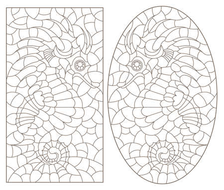 Set of contour illustrations in the style of stained glass with seahorses, dark outlines on a white background