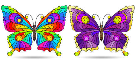 A set of illustrations in a stained glass style with bright butterflies, insects isolated on a white background Illustration
