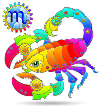 Illustration in the style of a stained glass window with a zodiac signs scorpio, figure isolated on a white background