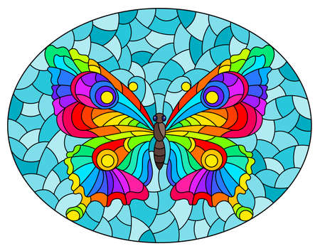 Illustration in stained glass style with a bright rainbow butterfly on a blue background, oval image
