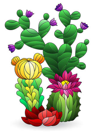 Illustration in the style of stained glass with a composition of cacti, plants isolated on a white background