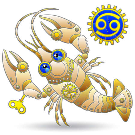 Illustration in the style of a stained glass window with a of zodiac sign cancer, figure isolated on a white background