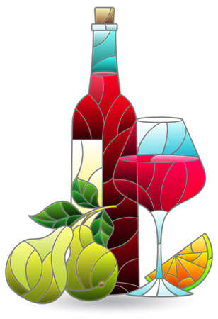 Stained glass illustration with a still life, a bottle of wine and fruit isolated on a white background