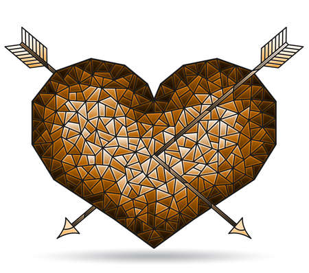 Illustration in stained glass style with abstract brown heart with arrows, figure isolated on white background