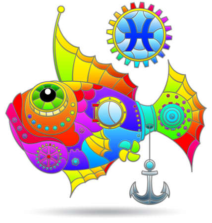Illustration in the style of a stained glass window with a zodiac signs pisces, figure isolated on a white background
