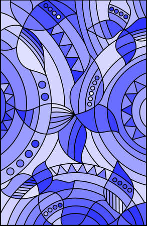 Illustration in stained glass style with abstract butterflies on a blue background, rectangular image, tone blue