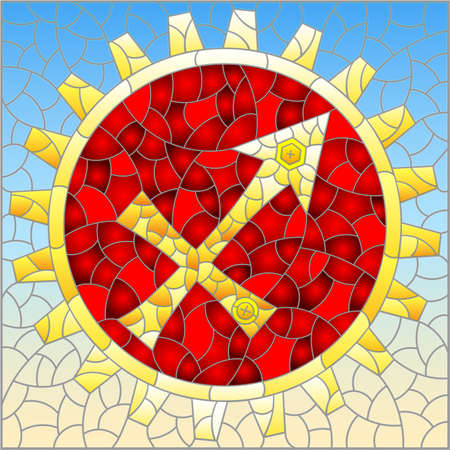 Illustration in the style of a stained glass window with an illustration of the steam punk sign of the horoscope Sagittarius