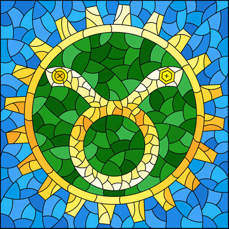 Illustration in the style of a stained glass window with an illustration of the steam punk sign of the horoscope Taurus