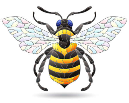 Stained glass-style illustration with an abstract bee, an animal isolated on a white background