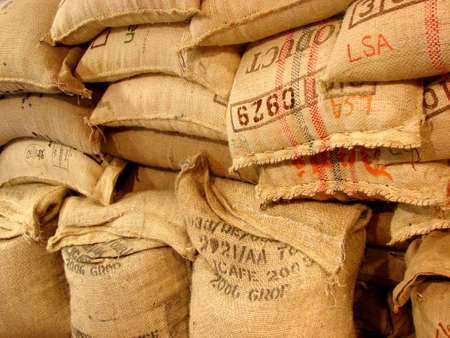 coffee sack: bags in a warehouse in shop