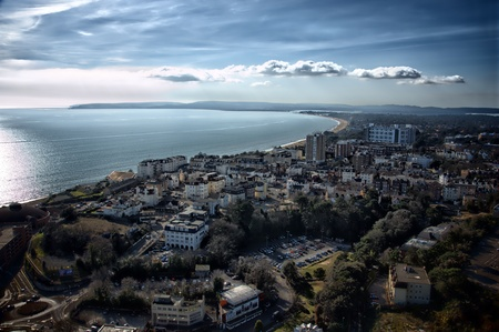 Bournemouth - aerial photo from 500ft looking west towards Poole Harbour