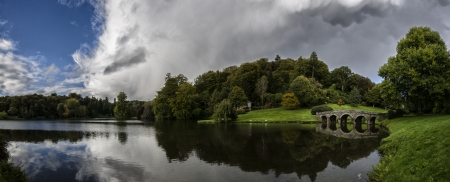 stourhead: Panorama of Stourhead Gardens in Wiltshire